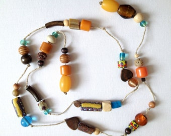 SALE... Fabulous Very OLD Trade Beads & Bakelite Mixed Necklaces Lot. Trade Bead Necklaces