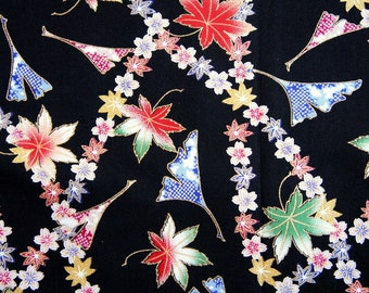 Maple Leaves Ginkgo Sakura Cherry Blossom Floral Black Floral Japanese Cotton  Fat Quarter