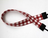 Red and White Checked Camera Strap