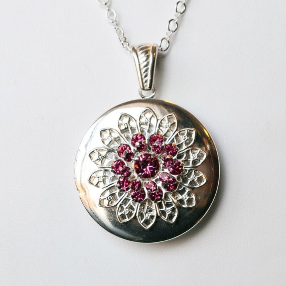Sunflower Locket - Smooth Silver Locket with Swarovski Crystal Sunflower in Rose - Personalized with Your Photos Inside