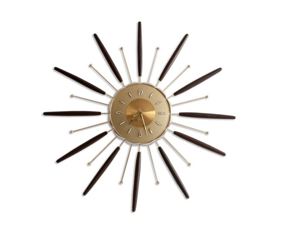 Mid Century Lux Wall Clock Starburst Eames Home Decor