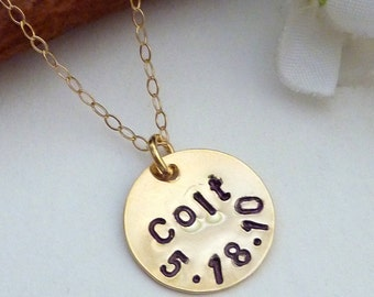 Personalized Charm  - Initials, Name, Date Round Gold Plated Charm Necklace in 14k Gold Filled Chain