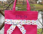 Embroidered tote bag, dance bag, dance tote bag, ballet tote bag, Hot Pink Tote Bag, Personalized Tote Bag, tutu bag, dance bags TB29  D
