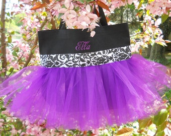 Childs Dance Bag, tutu tote bag, Naptime 21, Embroidered dance bag, tutu dance bag,personalized tote bag, Tutu Ballet Bag TB256 BP