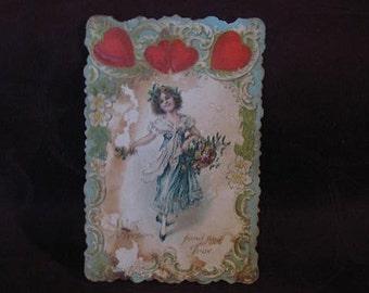 Vintage Valenting Postcard, Valentine Postcard, Love Postcard, Vintage Valentine Postcard from Early 1900 with Hearts,Girl,Basket of Flowers