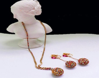Vintage Rhinestone Ball Necklace and Matching  Drop Earrings Set Rainbow Colored