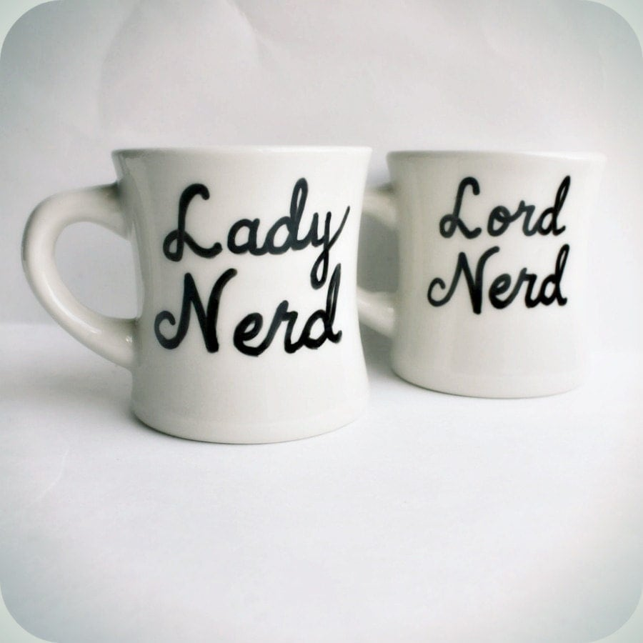 Wedding Gift Ideas For Nerds : Mug set for couples mugs Nerd coffee mug tea cup set couple