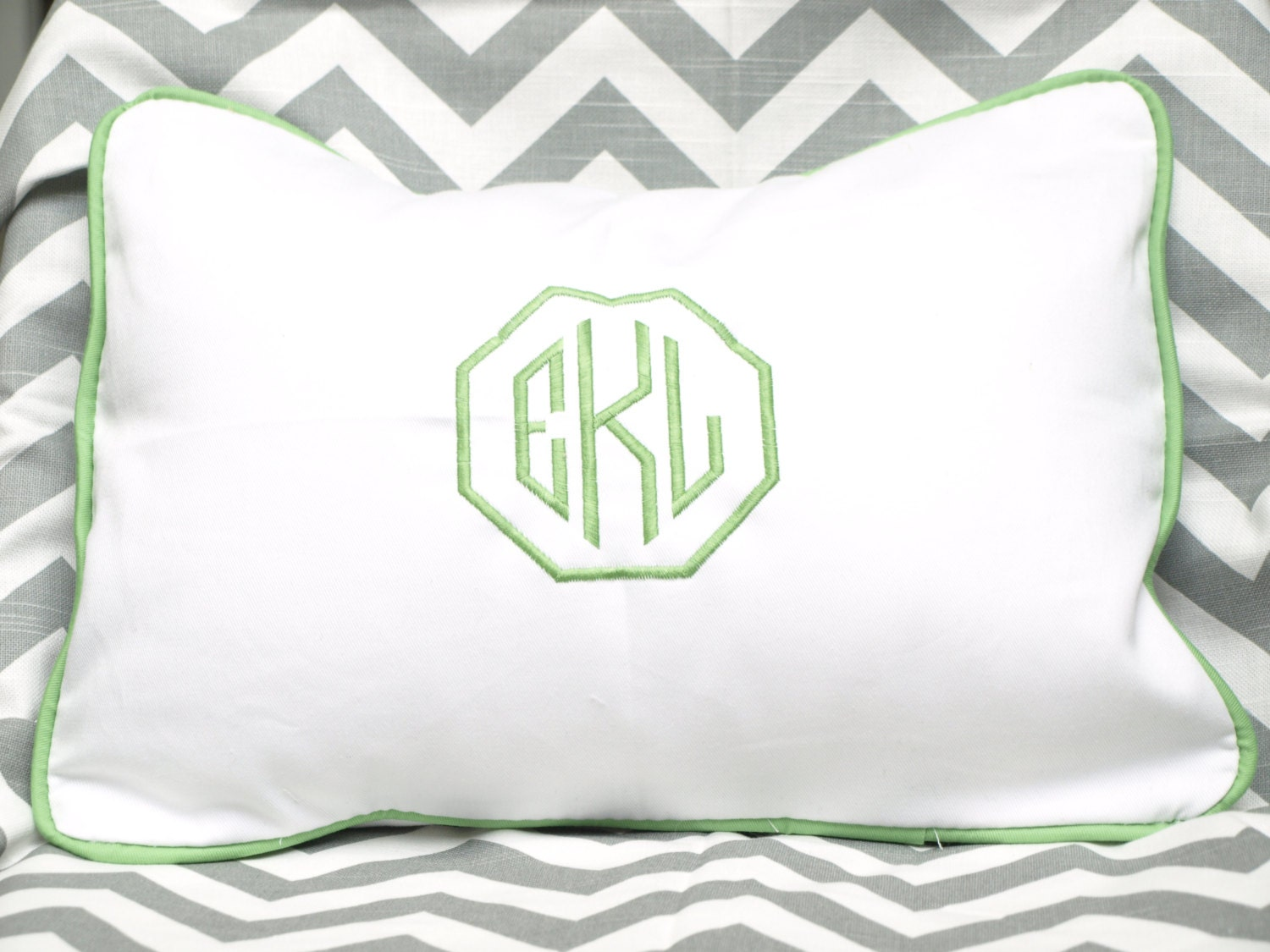 Monogrammed Framed Pillow Personalized Embroidered Kids Room