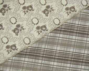 SALE Half Yard Bundle Verna Mosquera  ...Pirouette... Rose Wreath and Tartan in Mocha (1 yard total)