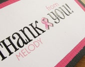 Breast Cancer Thank You Card SET of 6/Personalized Thank You Cards/Cancer Survivor Card