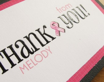 Breast Cancer Thank You Card SET of 6/Personalized Thank You Cards
