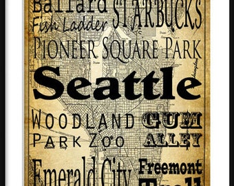 Seattle Typography - Transit - Subway Roll - Map 20x30 Poster Print