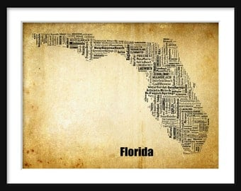 Florida State Map Alabama City Cities Typography Grunge Map Poster Print Tyographical Map
