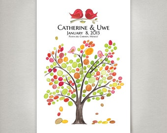 Rustic Wedding Guest Book Alternative art print - 150 Guest Sign in Personalized Signature Wedding Tree - Spring Love Birds