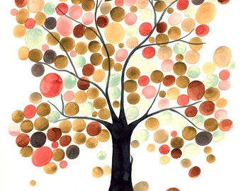 Alternative Guest Book abstract wedding tree watercolor painting - custom colors and names sign on leaves