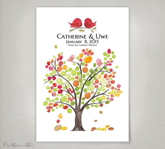 Rustic Wedding Guest Book Alternative art print - Personalized Signature Wedding Tree - Spring Love Birds