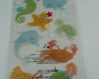 BABY SEA ANIMALS Jolee's Boutique Scrapbooking Wholesale Stickers- Dolphin, Seahorse, Starfish