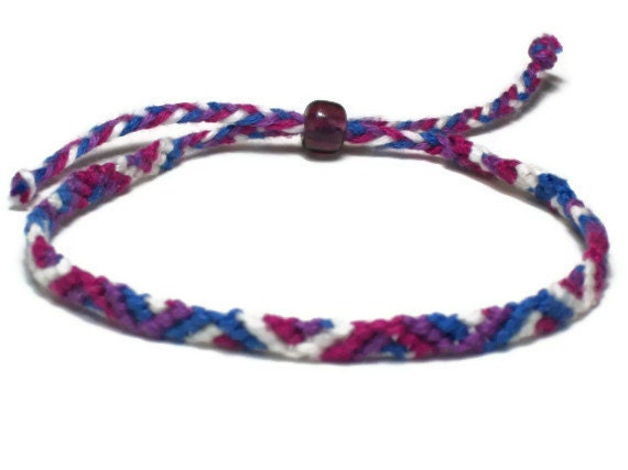 items similar to friendship bracelet zig zag blue purple