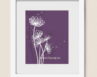 Purple Girls Room Dandelion Art Print 8 x 10, Flowing Circles Nature Wall Art, Home Office Decor (175)