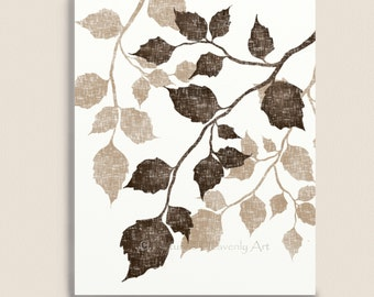 Birch Tree Leaves 8 x 10 Art Print, Nature Print, Brown Wall Decor, Vintage Style Art, Leaf, Earthtones (12)