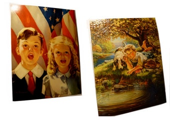 Breathtakingly Beautiful Embossed Vintage Prints. Circa 1940s. Children with USA Flag. Boy with Dog.