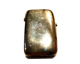 Antique Vesta Match Safe. English Sterling Silver. Engraved Dragon. 1880.