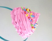 CUPCAKE FROSTING HEADBAND birthday party hat, Birthday Party Headband  photo prop cupcake headband ,cupcake Theme party pink icing