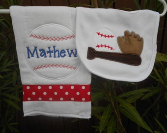 Personalized Baseball Bib and Burp Cloth.  Can be monogrammed with baby's name.
