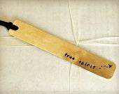 STAMPED BRASS BOOKMARK - Handmade, Free Spirit - with Stamped Soaring Bird Design, Great Gift for Reader