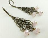 Pretty Milky Pink Chandelier Earrings Soft Pink Antiqued Brass Long Earrings Filigree Crystal