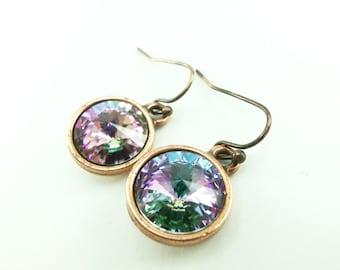 Pastel Crystal Drop Earrings Light Vitrail Copper Drop Earrings Pink Mint Earrings Antiqued Copper Earrings