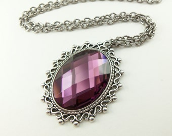 Victorian Style Purple Pendant Glass Antiqued Silver Necklace