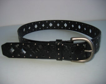 Leather Hippie Belt.  Pierced and studded. Vintage 1970.   Boho, Hippie.  New old stock.  Black