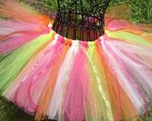 Little Girls tutu- Summer tutu- Girls Spring tutu- Orange tutu- Pink tutu- Lime tutu- SHERBET TUTU- Baby tutu- 1st birthday tutu-