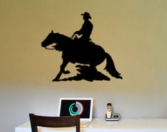 Horse decal-Horse sticker-Reining horse decal-Wall decal-Wall decor-28 X 33 inches