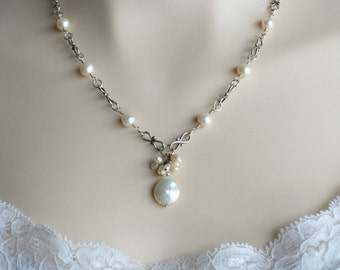 Pearl and sterling silver wire wrapped necklace, bridal jewelry, wedding jewelry, Mothers Day