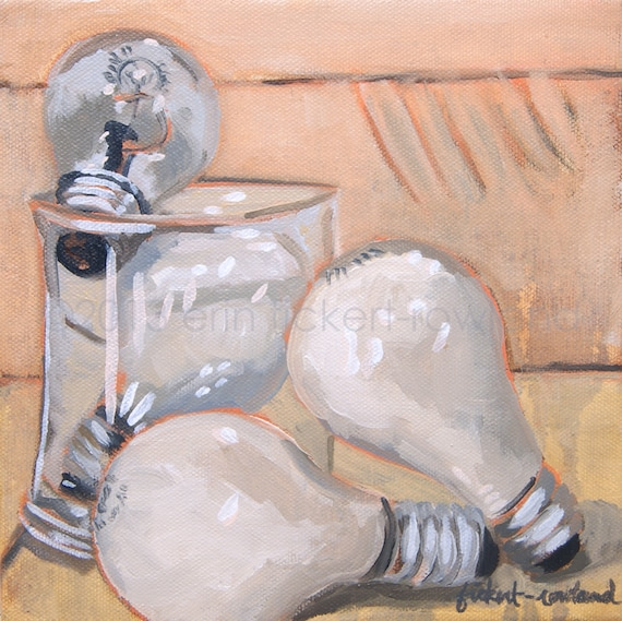 Modern Still Life Light Bulb Painting- A Collection of Ideas- Original Oil on Canvas by Erin Fickert-Rowland