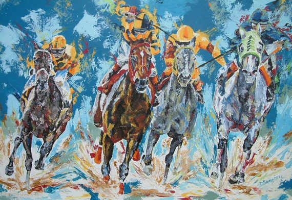 Horse Racing art limited edition print small giclee' signed