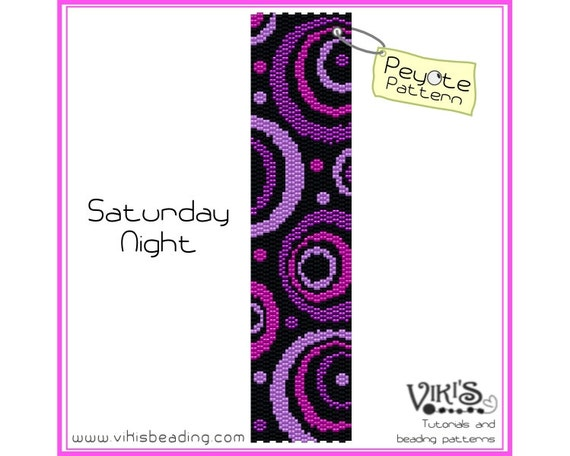 Peyote Bracelet Pattern: Saturday Night  - INSTANT DOWNLOAD pdf -Discount codes are available