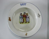SALE REDUCED Old Vintage Baby Bowl Made in Czechoslovakia Infant Child Feeding Dish Ceramic Pottery Cereal Bowl Czech Collectible Dish