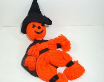 Vintage Pumpkin Witch, Orange Yarn Witch, Halloween Decoration, Ornament, Kitsch, Made in Japan  (269-13)