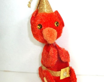 Vintage Furry Bear Christmas Ornament, Red Bear, Holiday Decor, Bear Collector, Kitsch  (285-13)