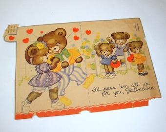 Vintage Valentine Day's Card, Bears, Hearts, Mid Century  (3080)