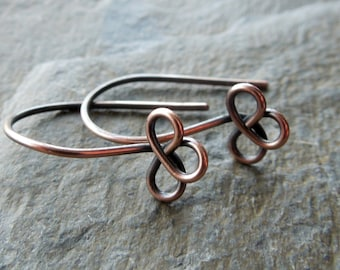 Handmade antique copper trefoil ear wires x 10 pairs MADE TO ORDER