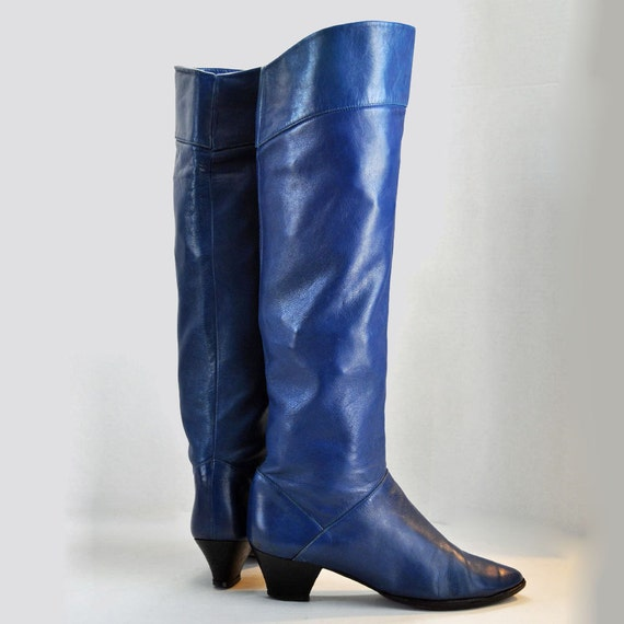 Vintage 80s Tall Leather Boots Cobalt Blue Leather Slouch