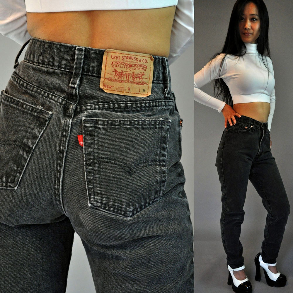 vintage 80s high waisted jeans black levis 512 denim vintage. Black Bedroom Furniture Sets. Home Design Ideas