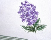 Lilac Flower Lilacs Purple Bloom Spring Floral Embroidered Towel Cotton Cabin Lodge Rustic Home Decor