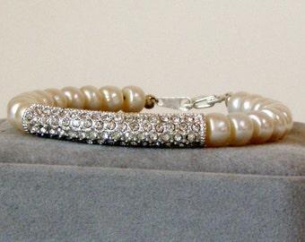 Rhinestone Bar and Cultured Pearl Bridal Wedding Bracelet BW101