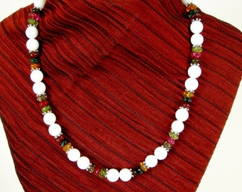 Beaded Necklace, White Jade with Jewel Toned Crackle Beads, NB101