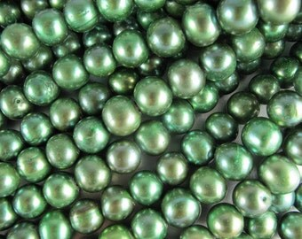 Large Hole Potato Pearls, Large 11-12mm,  Freshwater, Almost Round Pearls, Mineral Green, 2.5 mm drill, Six Pearls (P041)